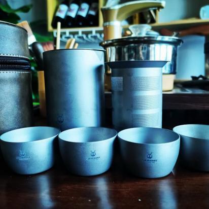 纯钛户外泡茶套装 简单方便实用